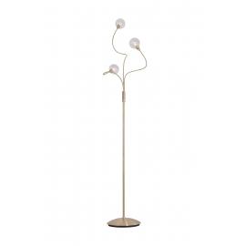 lampadaire Spring Light and Dzign métal laiton patiné, double verres transparent et fibres 2x40w G9
