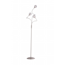 lampadaire Spring Light and Dzign métal nickel satiné, double verres transparent et fibres 2x40w G9