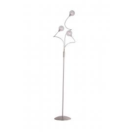 lampadaire Spring Light and Dzign métal nickel satiné, double verres transparent et fibres 2x40w G9