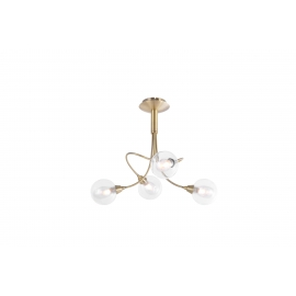 lustre Spring Light and Dzign métal laiton patiné, double verres transparent et fibres 4x40w G9