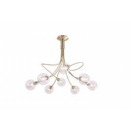 lustre Spring Light and Dzign métal laiton patiné, double verres transparent et fibres 8x40w G9
