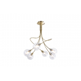 lustre Spring Light and Dzign métal laiton patiné, double verres transparent et fibres 6x40w G9