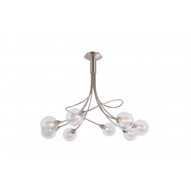 lustre Spring Light and Dzign métal nickel satiné, double verres transparent et fibres 6x40w G9