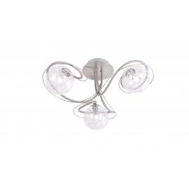 Plafonnier Planet Light and Dzign métal nickel satiné, verre transparent intérieur métal 3x40w G9