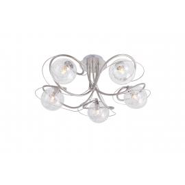 Plafonnier Planet Light and Dzign métal nickel satiné, verre transparent intérieur métal 5x40w G9