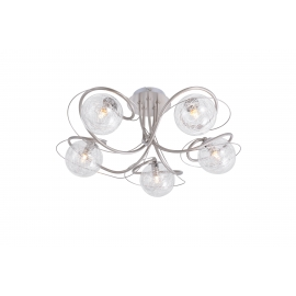 Plafonnier Planet Light and Dzign métal nickel satiné, verre transparent intérieur métal 5x40w G9