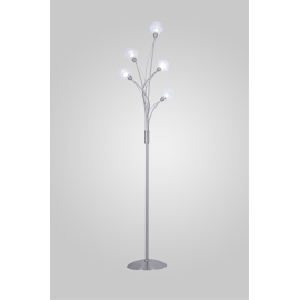 Lampadaire Diamant Light and Dzign métal nickel satiné, verre transparent 5x40w G9