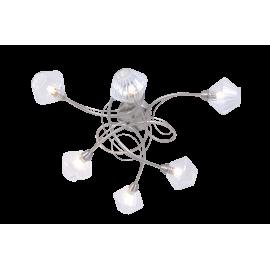 Plafonnier Diamant Light and Dzign métal nickel satiné, verre transparent 6x40w G9