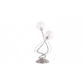 Lampe Planet Light and Dzign métal nickel satiné, verre transparent intérieur métal 2x40w G9