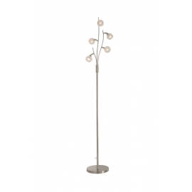 Lampadaire Forest Light and Dzign métal nickel satiné, verre semi transparent et semi opale 5x40w G9