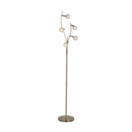 Lampadaire Forest Light and Dzign métal laiton patiné, verre semi transparent et semi opale 5x40w G9