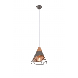 Suspension Scandina Light and Dzign métal gris et bois clair E27 12w