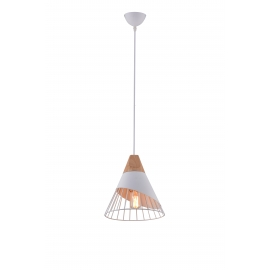 Suspension Scandina Light and Dzign métal blanc et bois clair E27 12w