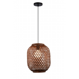 Suspension Bamboo Light and Dzign bambou brun E27 12w