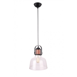 Suspension Cloche Light and Dzign métal cuivre, verre transparent E27 15w