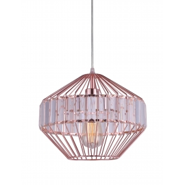 Suspension Magik Light and Dzign métal cuivre rose 15w E27