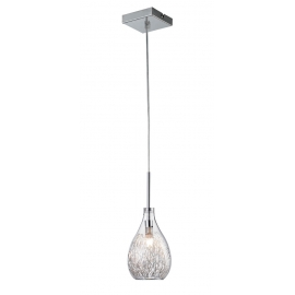 Suspension Ora Light and Dzign métal chrome verre transparent 40w G9