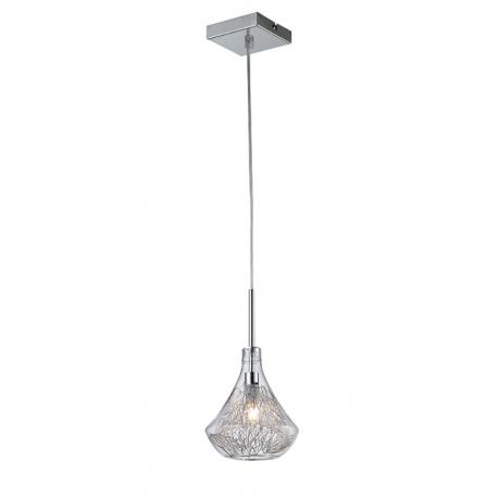 Suspension Ora Light and Dzign métal chrome verre transparent 40w G9