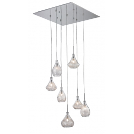 Suspension Ora Light and Dzign métal chrome verre transparent 7x40w G9
