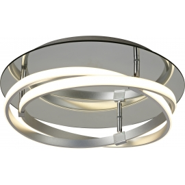 Plafonnier led Infinity Mantra métal chrome, diffuseur acrylique 30w led 3000k 2500 lumens