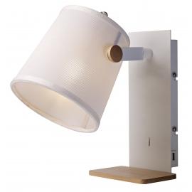 Applique Nordica Mantra métal blanc, bois clair, abat jour tissu blanc 23w E27 avec prise usb