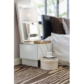 Lampe Nordica Mantra métal blanc, bois clair, 23w E27 avec prise usb