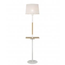 Lampadaire Nordica Mantra métal blanc, bois clair, 23w E27 avec 2 prises usb