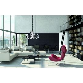 Lustre led Versailles Mantra métal chrome avec diffuseurs acryliques 256w 3000k 12339lumens