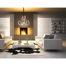 Lustre led Versailles Mantra métal chrome avec diffuseurs acryliques 66w 3000k 3166 lumens