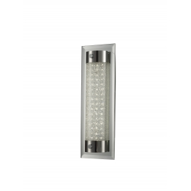 Applique led Tube Mantra métal chrome, verre 13w led 4000k 1100 lumens