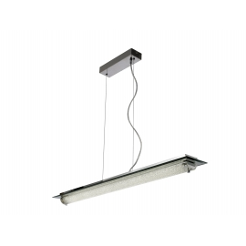 Suspension led Tube Mantra métal chrome, verre 26w led 4000k 2000 lumens