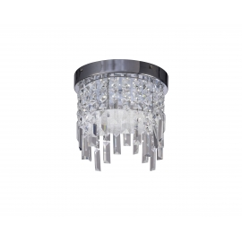 Plafonnier led Kawai Mantra métal chrome, verre 12w led 4000k 950 lumens