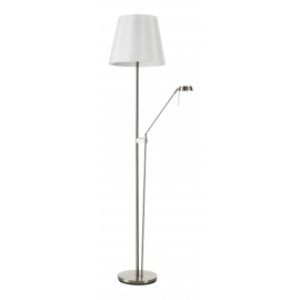 Lampadaire Palma Mdc métal chrome mat abat-jour blanc 2x23w E27 + 6,5w led 3000k 570 lumens