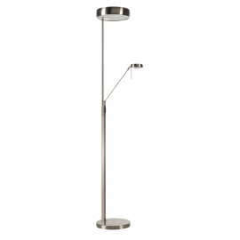 Lampadaire Go on Mdc métal chrome mat 2x23w E27 + 6,5W led 3000k 570 lumens