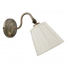 Applique Alba Mdc métal bronze abat-jour tissu plissé blanc 20w E27