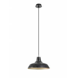 Suspension Nexy Mdc métal noir pierre 15w E27
