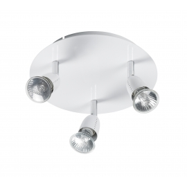 Plafonnier spot Ecco Mdc métal blanc 3x50w GU10