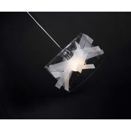 Suspension Bigbang Emporium plexiglass transparent, blanc opale 23w E27