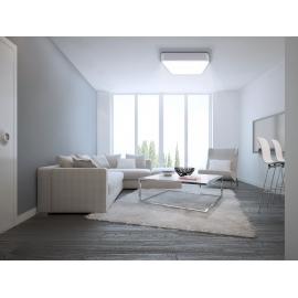 Plafonnier led carré Cumbuco Mantra métal blanc avec diffuseur acrylique 80w led 4200k 4800 lumens