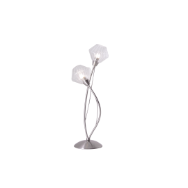 Lampe Diamant Light and Dzign métal nickel satiné, verre transparent 2x40w G9