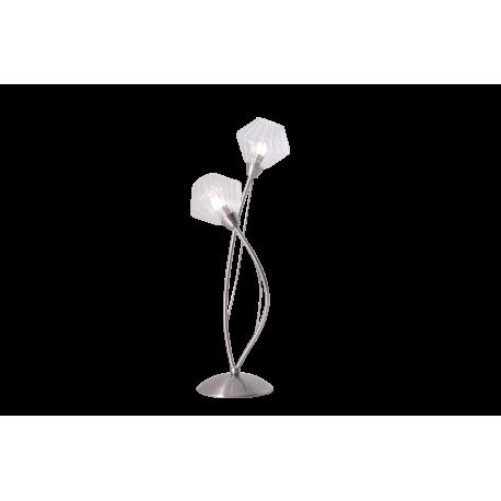 Lampe diamant light and dzign m tal nickel satin - Table en verre transparent ...