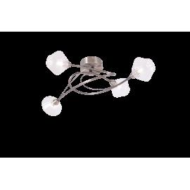 Plafonnier Diamant Light and Dzign métal laiton patiné, verre transparent 4x40w G9
