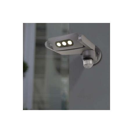 Applique led Mini Ledspot Lutec avec détecteur de présence en fonte d`aluminium gris anthracite 3x3w 605 lumen 4000k IP65 classe
