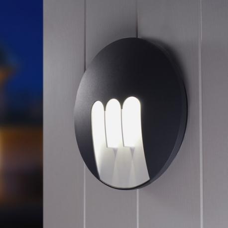 Applique led Mask Lutec en fonte d`aluminium gris anthracite 3X3w 440 lumens 4000k IP54 classe 1 IK06