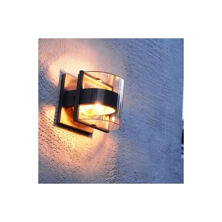 Applique Delta Lutec en fonte d`aluminium gris anthracite 15w E27 IP44 classe 2 IK05