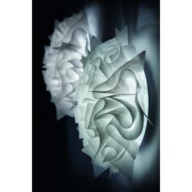 Plafonnier led Veli Couture Slamp design Adriano Rachele en opalflex, lentuflex 2x8w led filament E27