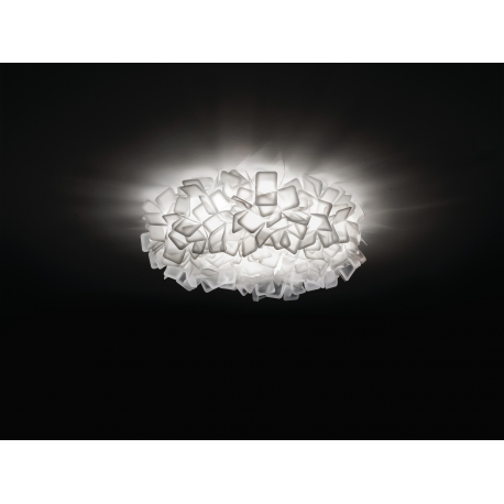 Plafonnier Clizia Slamp design Adriano Rachele en Opalflex blanc 3 x20w E27