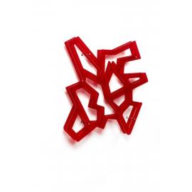 Etagère CD, DVD Macrame Emporium design Roberto Giacomucci en mètachrylate rouge