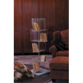 Range CD pivotant Babele Emporium design Roberto Giacomucci en métachrylate transparent