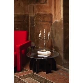 Table basse Atlante Emporium design Romeo Guaricci base en mètachrylate noir
